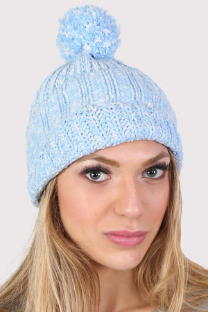 Pom Pom Marl Ribbed Beanie Hat in Dusty Blue 2