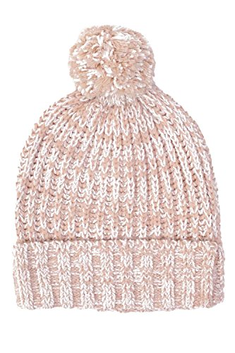 Pom Pom Marl Ribbed Beanie Hat in Pale Pink