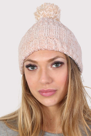 Pom Pom Marl Ribbed Beanie Hat in Pale Pink 1
