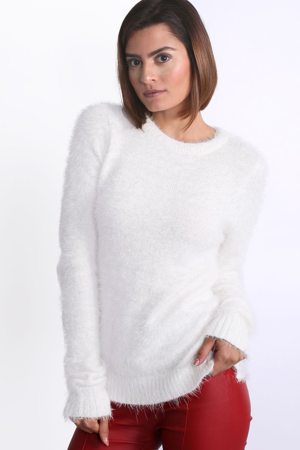 Fluffy Soft Touch Long Sleeve Knitted Jumper in Cream 1