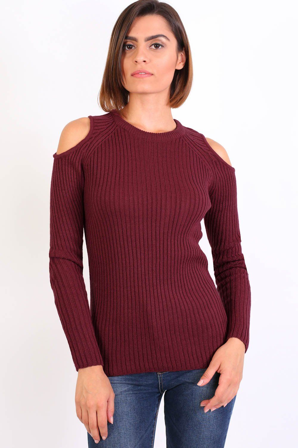 Cold Shoulder Knitted Ribbed Long Sleeve Jumper in Burgundy Red 1