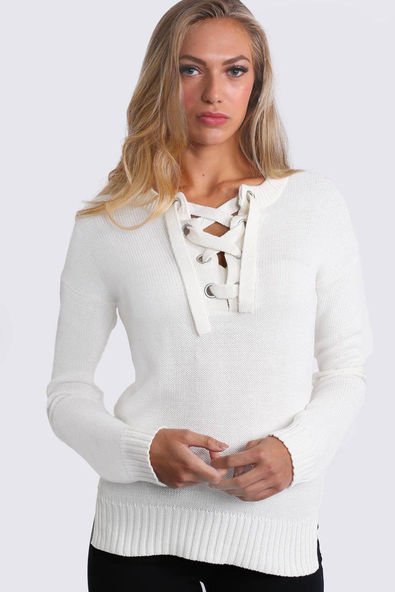 Lace Up Front Long Sleeve Plain Knit Jumper in Ivory White 1
