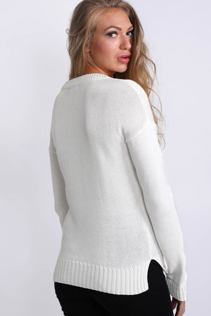Lace Up Front Long Sleeve Plain Knit Jumper in Ivory White 2