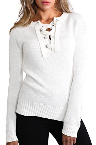 Lace Up Front Long Sleeve Plain Knit Jumper in Ivory White