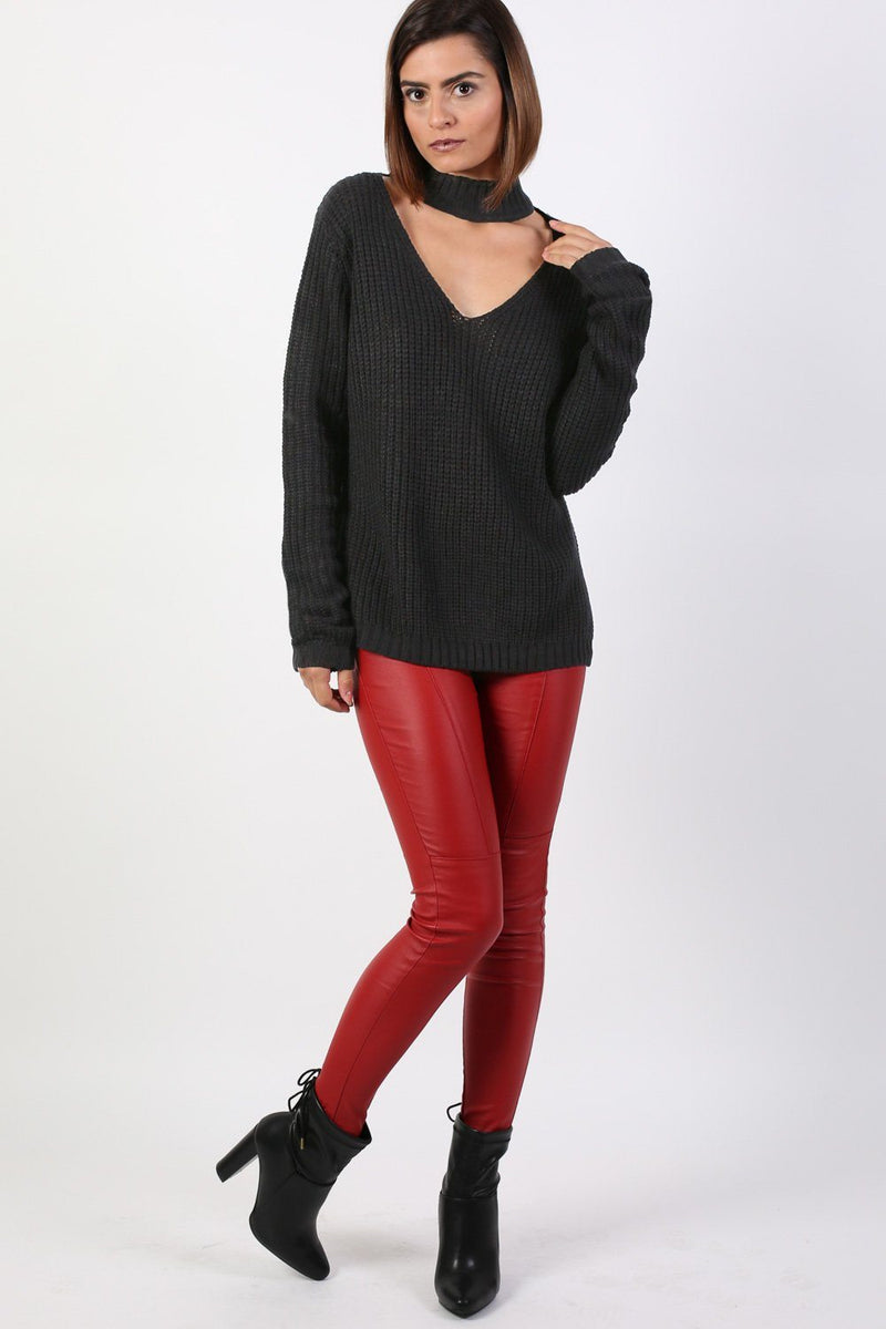 Choker V Neck Long Sleeve Ribbed Jumper in Black 4