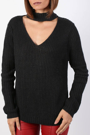 Choker V Neck Long Sleeve Ribbed Jumper in Black 5