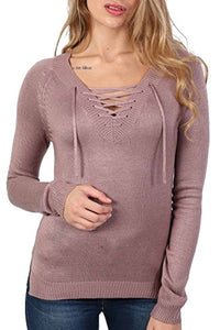 Fine Knit Lace Up Front V Neck Jumper in Dusty Pink