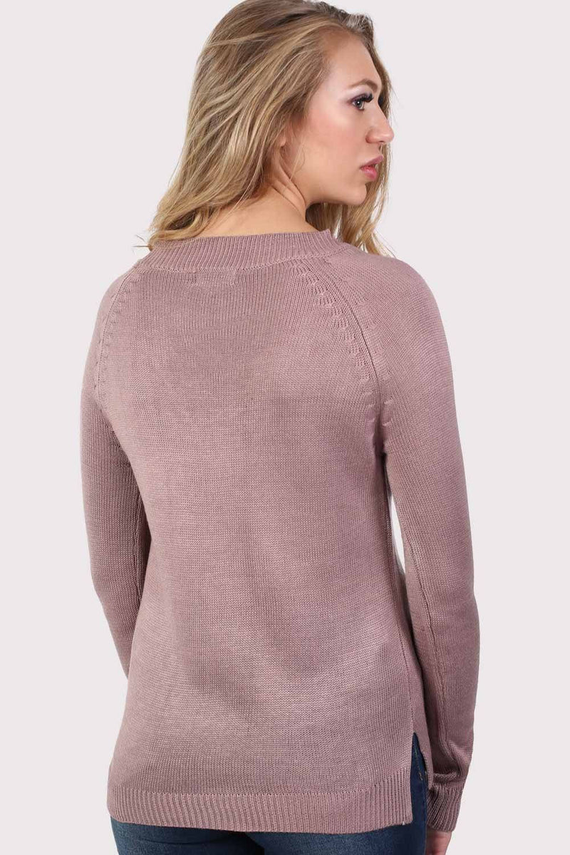 Fine Knit Lace Up Front V Neck Jumper in Dusty Pink 2