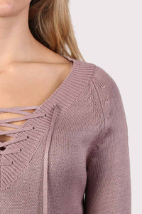 Fine Knit Lace Up Front V Neck Jumper in Dusty Pink 3