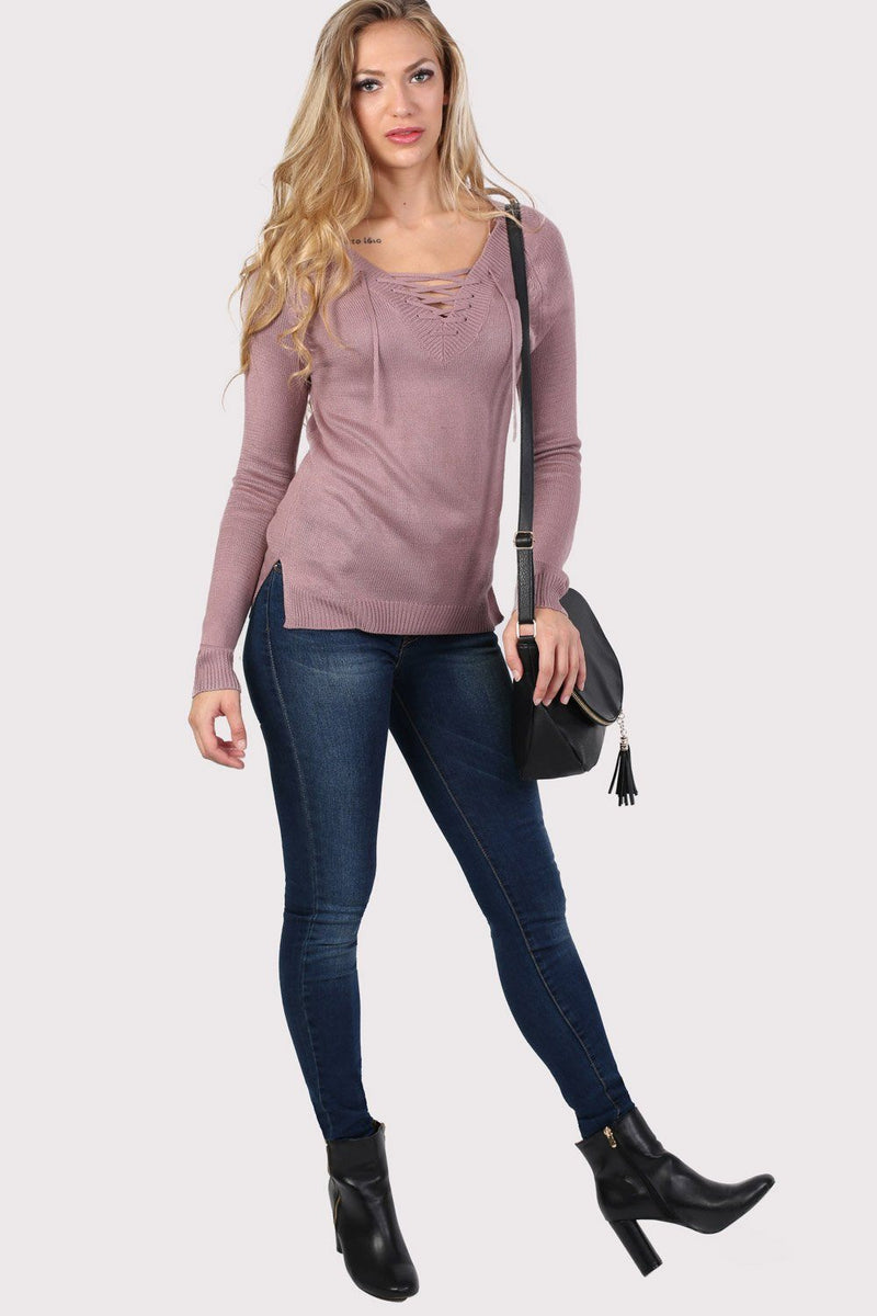 Fine Knit Lace Up Front V Neck Jumper in Dusty Pink 4