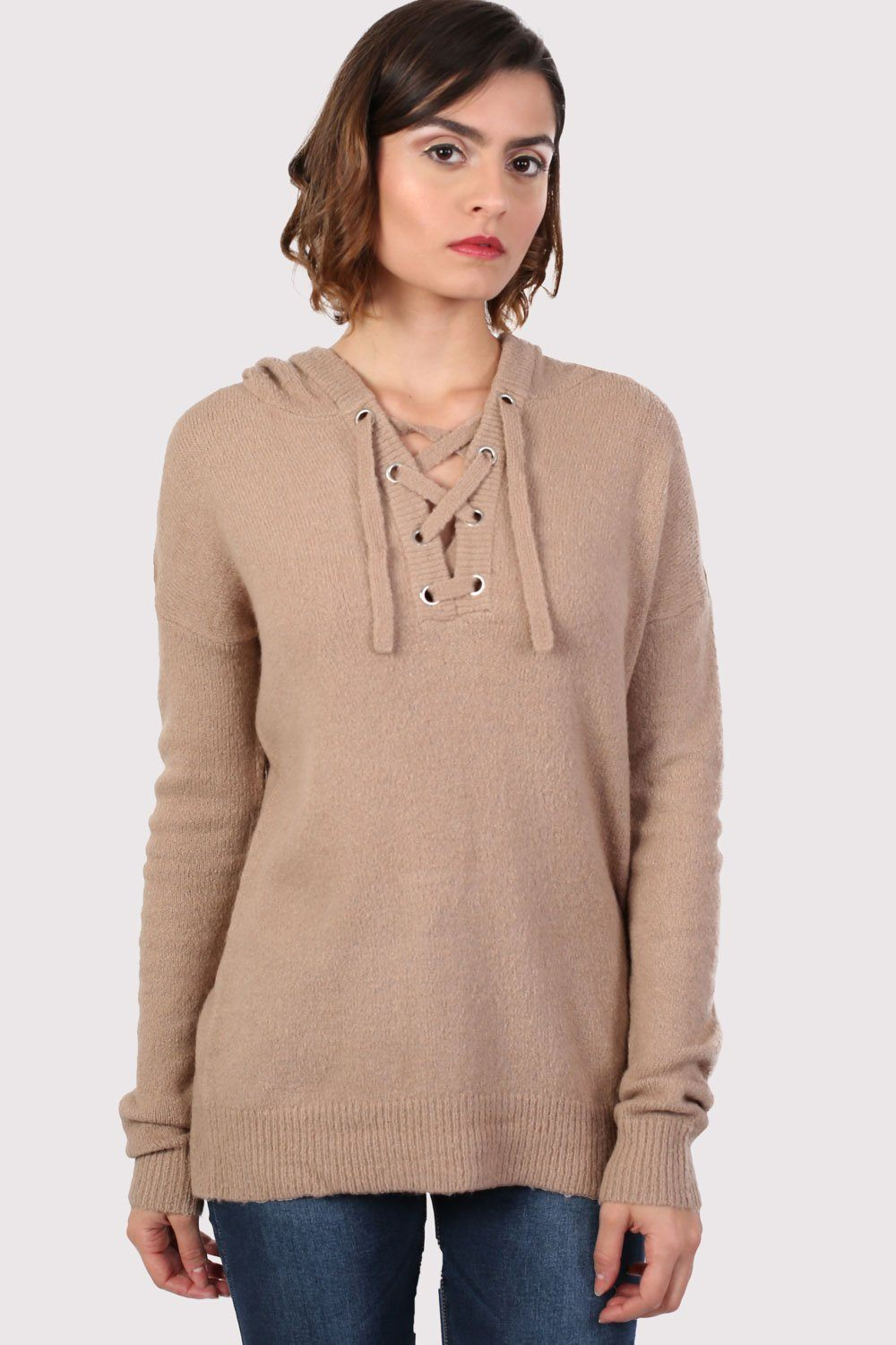 Lace Up Front Hooded Jumper in Camel Brown 1