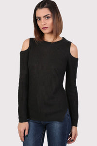 Ribbed Cold Shoulder Jumper in Black 1