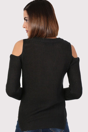 Ribbed Cold Shoulder Jumper in Black 2