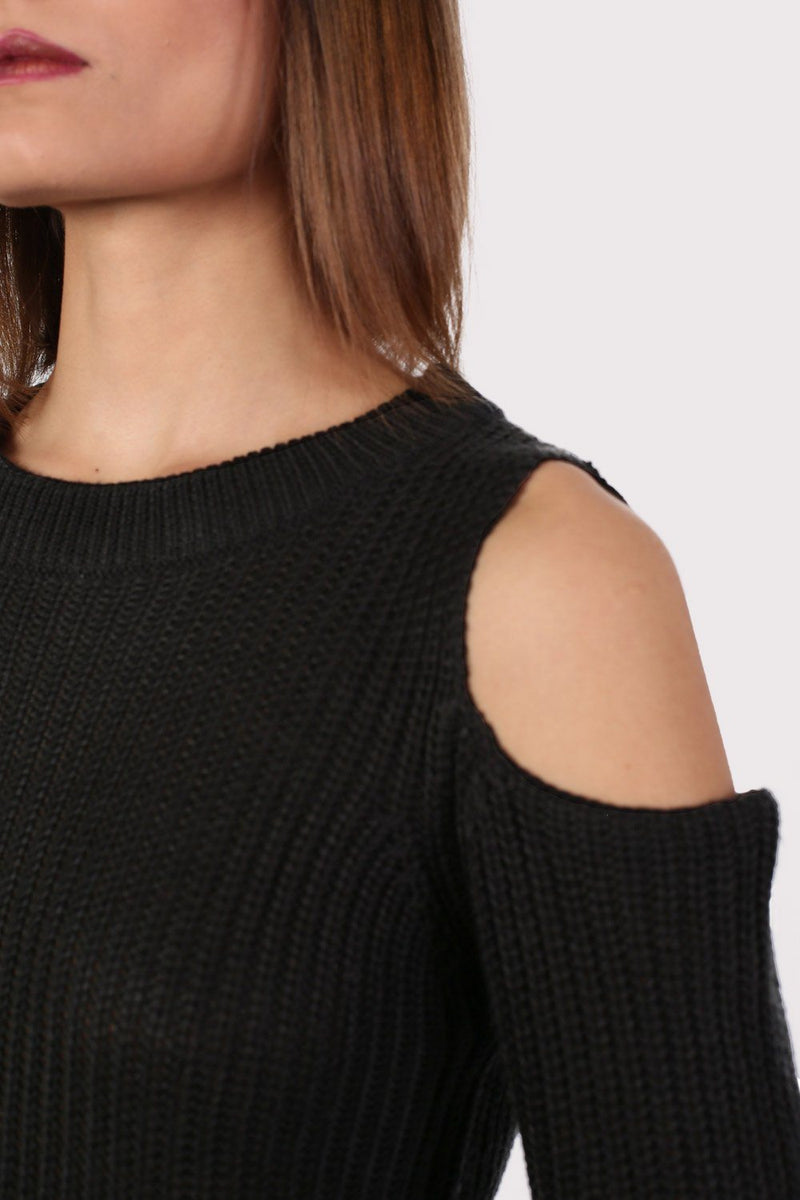 Ribbed Cold Shoulder Jumper in Black 3