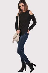 Ribbed Cold Shoulder Jumper in Black 4