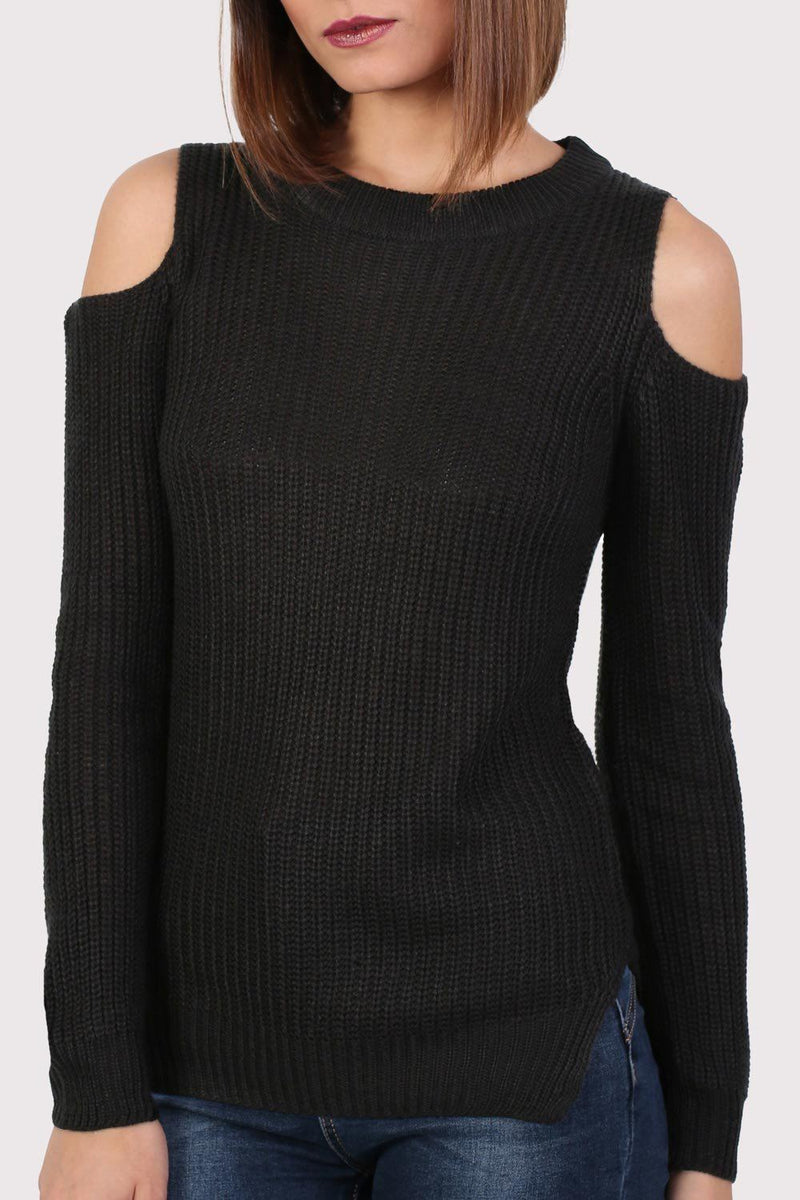Ribbed Cold Shoulder Jumper in Black 5