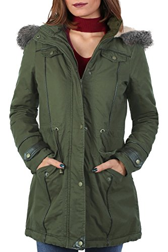PU Trim Faux Fur Trim Hood Parka Coat in Khaki Green