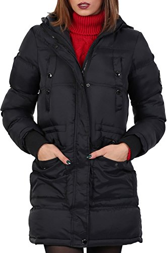 Long Line Padded Puffer Coat With Hood in Black