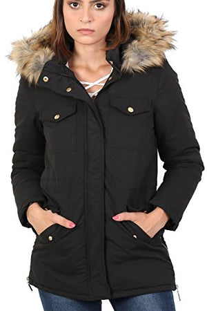 Faux Fur Trim Hooded Parka Coat in Black