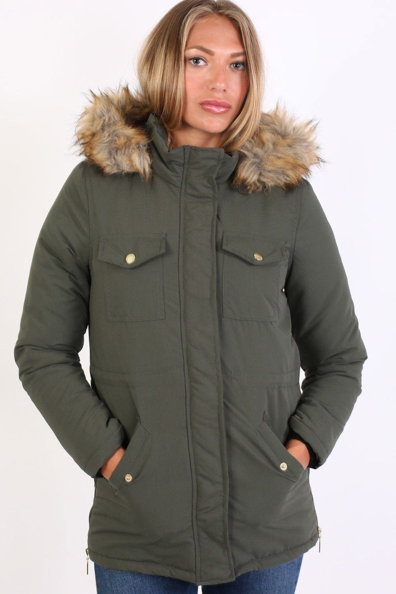 Faux Fur Trim Hooded Parka Coat in Khaki Green 1