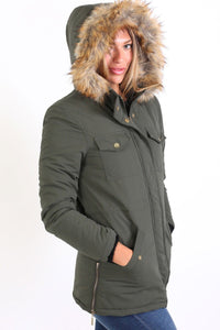 Faux Fur Trim Hooded Parka Coat in Khaki Green 2