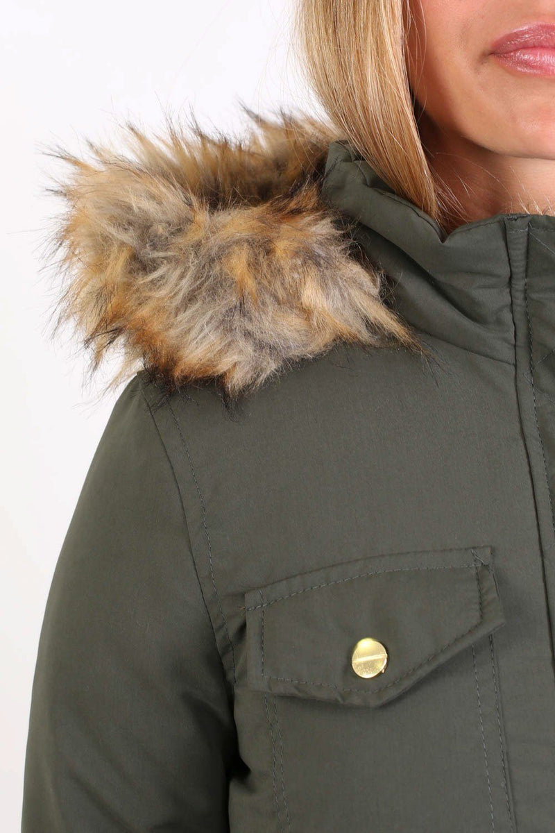 Faux Fur Trim Hooded Parka Coat in Khaki Green 3