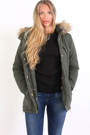 Faux Fur Trim Hooded Parka Coat in Khaki Green 4