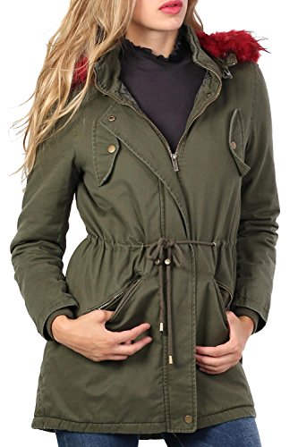 Faux Fur Trim Hooded Parka Coat in Khaki Green