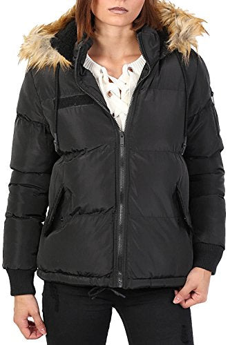 Faux Fur Trim Hooded Padded Jacket in Black