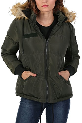 Faux Fur Trim Hooded Padded Jacket in Khaki Green