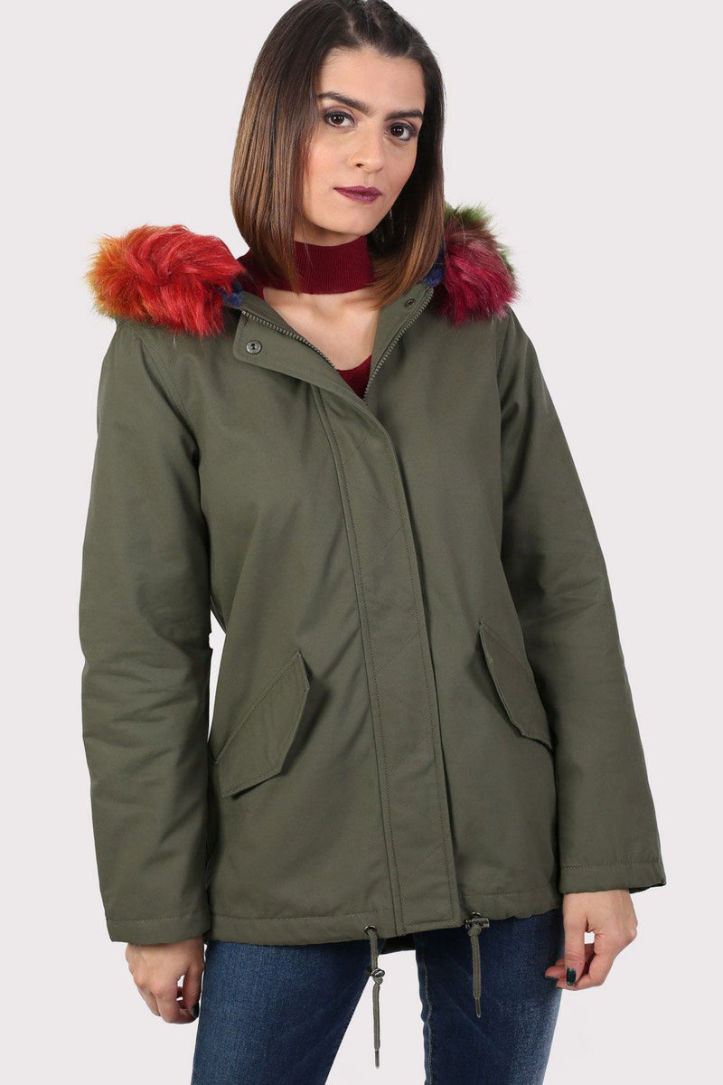 Multi-Colour Faux Fur Trim Hooded Parka Coat in Khaki Green 2