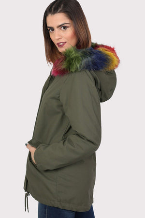 Multi-Colour Faux Fur Trim Hooded Parka Coat in Khaki Green 3