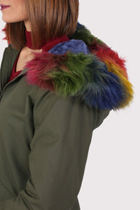 Multi-Colour Faux Fur Trim Hooded Parka Coat in Khaki Green 4