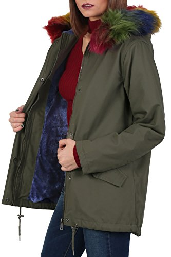 Multi-Colour Faux Fur Trim Hooded Parka Coat in Khaki Green