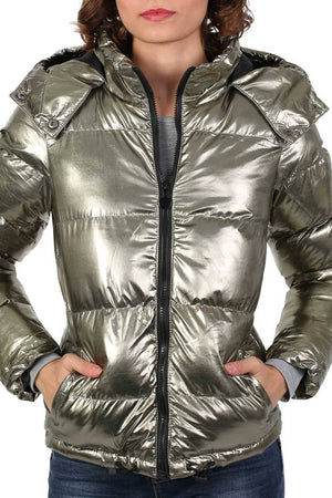 Metallic Puffer Jacket With Hood in Mint Green 5