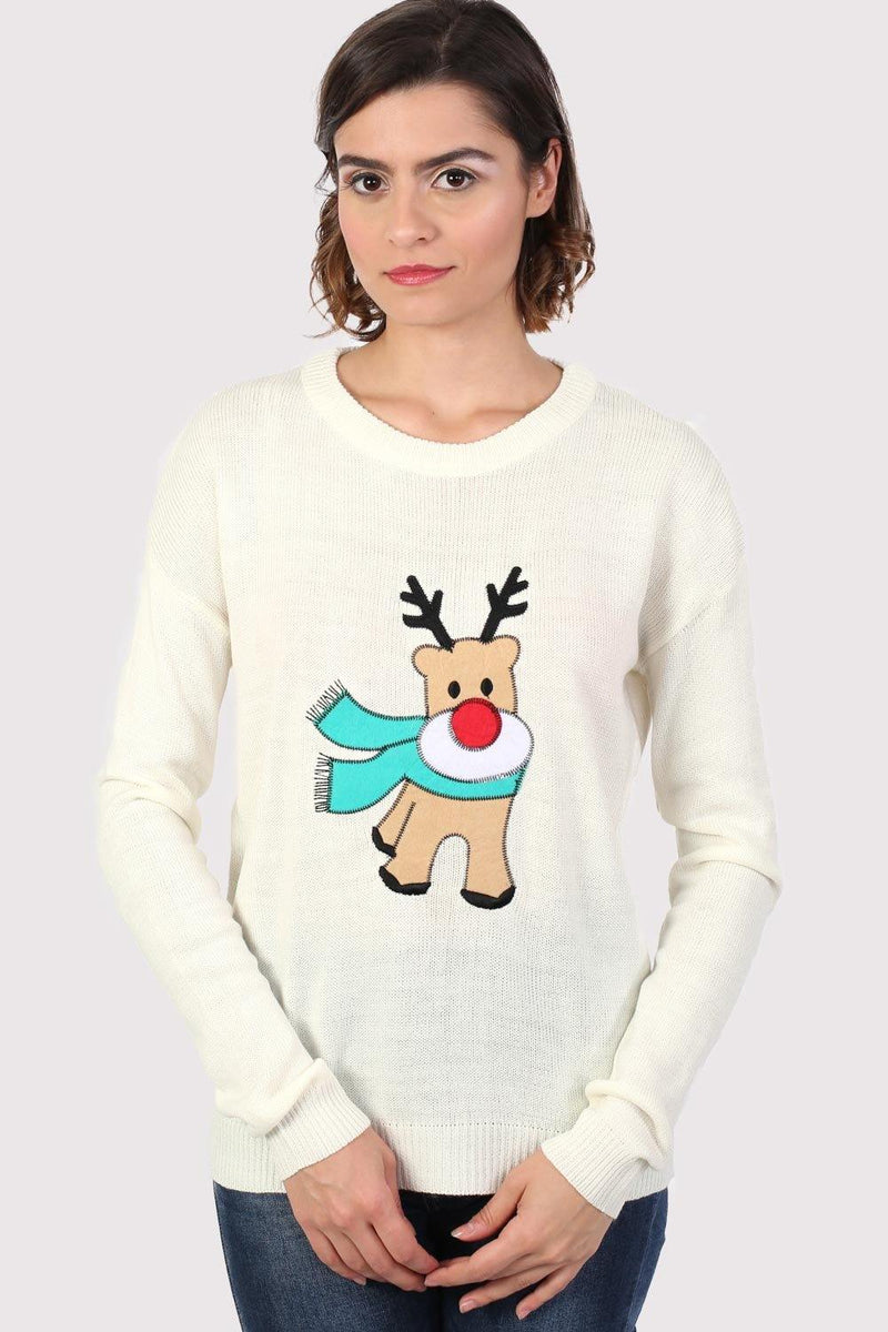 Reindeer Long Sleeve Christmas Jumper in Cream 1