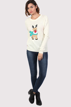 Reindeer Long Sleeve Christmas Jumper in Cream 4