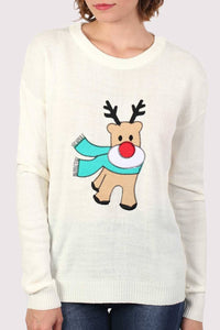 Reindeer Long Sleeve Christmas Jumper in Cream 5