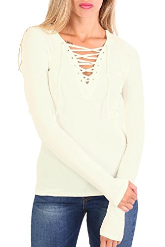 Plain Fine Rib Long Sleeve Lace Up Front Top in Cream