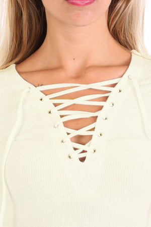 Plain Fine Rib Long Sleeve Lace Up Front Top in Cream 4