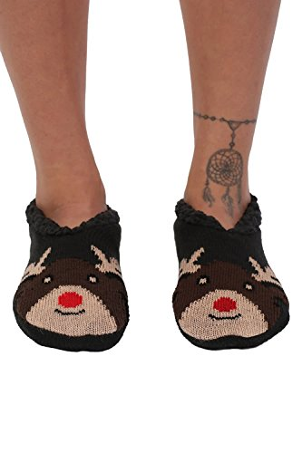 Christmas Novelty Reindeer Slipper Socks in Chocolate Brown