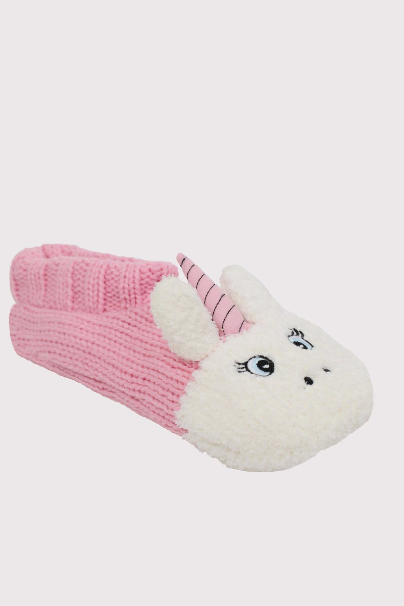 Unicorn Novelty Christmas Slipper Socks in Pale Pink 3