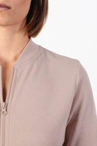 Plain Zip Front Long Sleeve Jogger Top in Dusty Pink 3