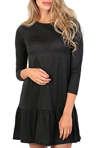 Long Sleeve Plain Peplum Hem Mini Dress in Black