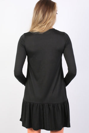 Long Sleeve Plain Peplum Hem Mini Dress in Black 2