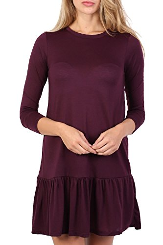 Long Sleeve Plain Peplum Hem Mini Dress in Purple