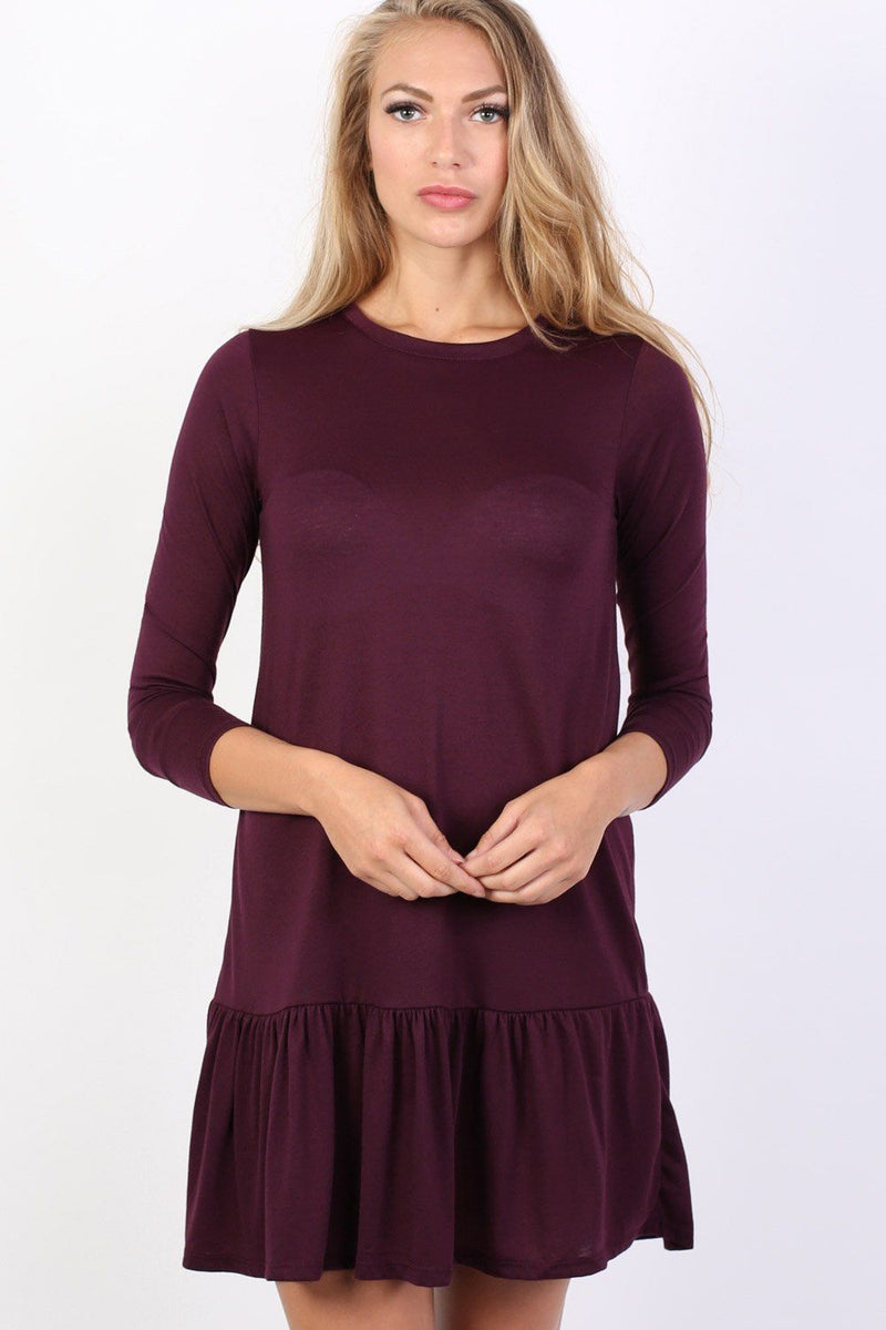 Long Sleeve Plain Peplum Hem Mini Dress in Purple 1