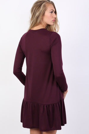 Long Sleeve Plain Peplum Hem Mini Dress in Purple 2