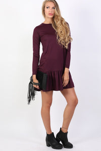 Long Sleeve Plain Peplum Hem Mini Dress in Purple 3