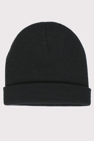 Plain Knitted Beanie Hat in Black 2